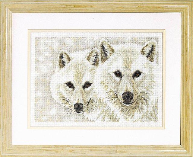 Схема для вышивки белые волки 581