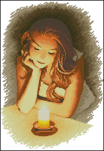 Девушка со свечой схема вышивки 21