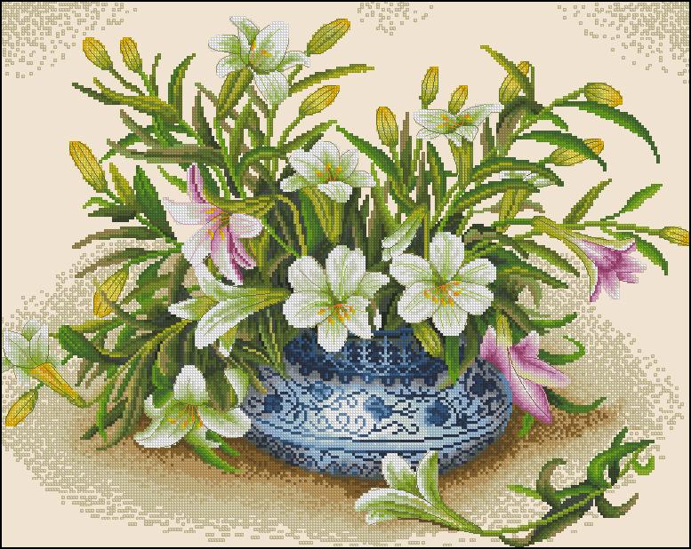 Лилии в китайской вазе
